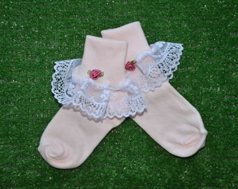 Pale Pink -  Lace Socks with Rose for Little Girls - Size 6-7 1/2 (XS) - US Shoe Size 6-11