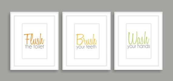 Bathroom wall art, Flush, Brush, Wash, Typography, Bathroom decor- Set of three 8x10