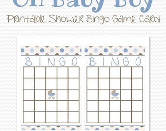 Blue and Brown Baby Shower Bingo Game, Bingo Cards, Brown and Blue Party Supplies, Polka Dot, Baby Boy Theme - Printable File, Instant