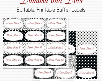 Buffet Labels and Place Cards, Black and White, Red, Damask and Dots, Bridal Shower Decoration -- Editable, Printable, Instant Download