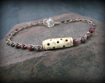 Surfer Girl Anklet with carved bone bead, Earthy red beaded crochet anklet, Boho Beach Chic