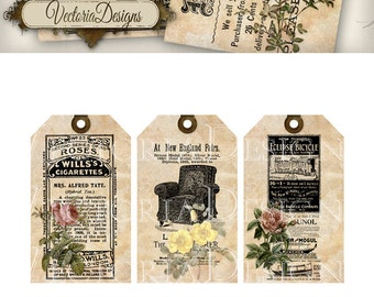 Ephemera Tags with Flowers printable gift tags instant download digital Collage Sheet VD0373