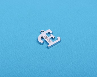 Letter E platinum color silver charm pendant, rhinestone crystals embedded in the metal, alphabet  chs1262