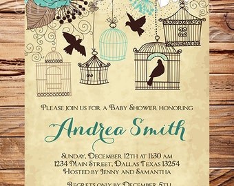 Baby Shower Invitation, Birdcages Baby Shower Invitation, Boy, Girl, Vintage Baby Shower Invite, Teal, Brown, Blue, 1064