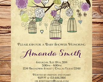 Baby Shower Invitation, Birdcages Baby Shower Invitation, Girl, Vintage Baby Shower Invite, Purple, Green, Pink, Brown, 1066