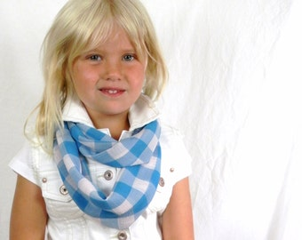 Girls Infinity Scarf Turquoise and White Big Gingham Check Chiffon Scarf by Thimbledoodle