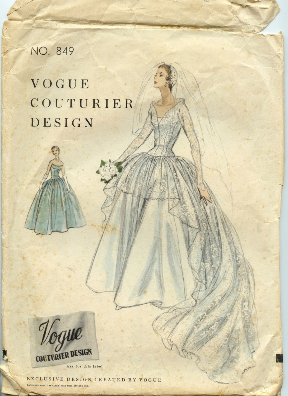 1950s Wedding Gown Pattern Vogue Couturier Design 849 Misses