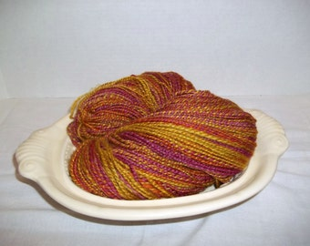 Hand Spun Hand Dyed BFL/Silk Wool Vermilion Red, Gold, Burnt Orange,  Lime Green Two Ply Yarn