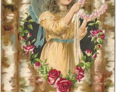 """Antique 1910s Postcard Beautiful Girl with flower wreath """"An Offering Of Friendship"""" Victorian"""