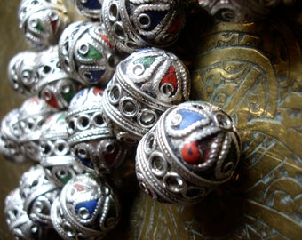 Enamel Moroccan ornate barrel bead (code1)