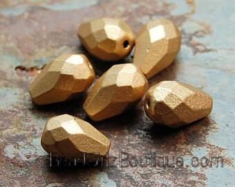 Matte Gold Czech Glass 10x7mm Teardrop Beads -12