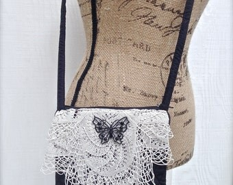 Quilted Shabby Chic Crossbody Bag - Repurposed Vintage - Boho Purse - Vintage Embellished Bag - Gifts