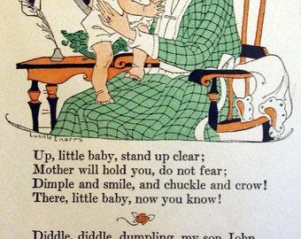 VINTAGE NURSERY RHYMES Set of Four Handmade Vintage Notecards Upcycled Blank Cards Vintage Mother Goose Rhymes