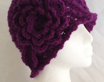 "Beanie,cloche,cap,hat with flower attached hand crochet adult 20""-22"""