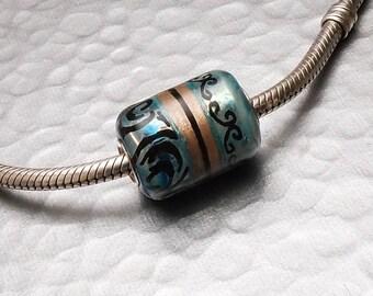 Glass Bead Charm Handmade - Blue Jean Fall - SRA Lampwork Big Hole European