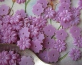 50 Vintage Tiny Purple  Flower Bead