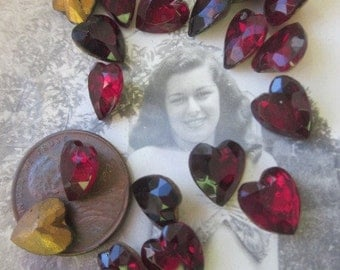 12 Vintage Western German Ruby Glass Hearts