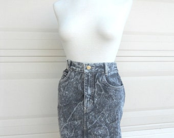 """80s Acid Wash Mini Skirt . SERGIO VALENTE . Deadstock NEW With Tag . Waist 25"""" More Available"""