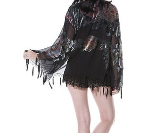 SALE 20% OFF // Black Dream Velvet Burnout Beaded Fringe Tassel Kimono