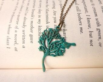 Verdigris tree necklace- Turquoise tree of life necklace- Verdigris windy tree necklace-Verdigris bird tree necklace- Vintage style tree