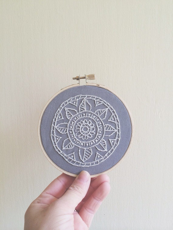 White lace mandala embroidery hoop art