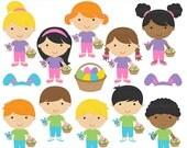 easter clipart clip art digital - Easter Kids Digital Clipart