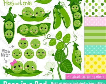 Peas in a Pod Clipart - Clip Art and Digital paper set