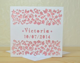 New Baby Birth Personalised Laser Cut Card