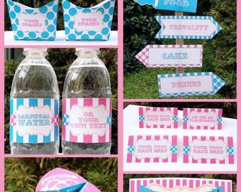 Carnival Party Decorations & Invita tions - pink aqua - full Printable ...