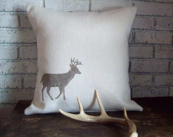 Deer Pillow Cover, Deer Silhouette, Burlap Pillow, Rustic Lodge Decor, Hand Painted Deer Pillow, Decorative Cabin Pillow, Hunting Camp Decor