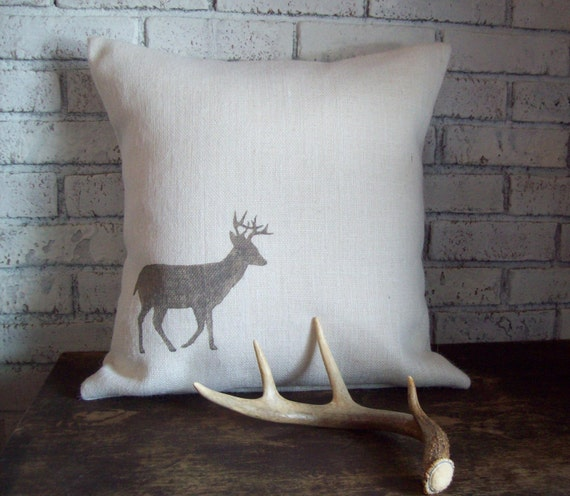 Deer Pillow Cover - Deer Silhouette Burlap Pillow - Lodge Decor - Rustic Deer Pillow - Cabin Pillow - Home Decor - Hunting Camp Pillow