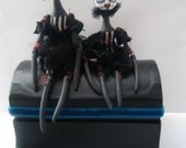 Alternative Gothic Art Dolls x 2 Hand Made Black White Stripes French Clown Jointed Gift Box  Peppy and Mimi