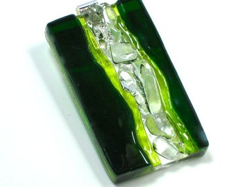 Art Glass Jewelry Dimensional Hand Sculptured Green Pendant Artist Signed