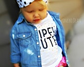Turban Jersey Headband- Knotted Jersey Knit Headband Baby Toddler Adult Polka Dot Gold Headband