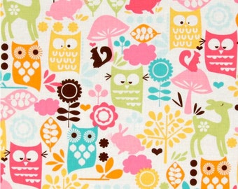 Forest Life in Watermelon by Michael Miller Fabrics Sorbet (1 yard) BUY MORE & SAVE