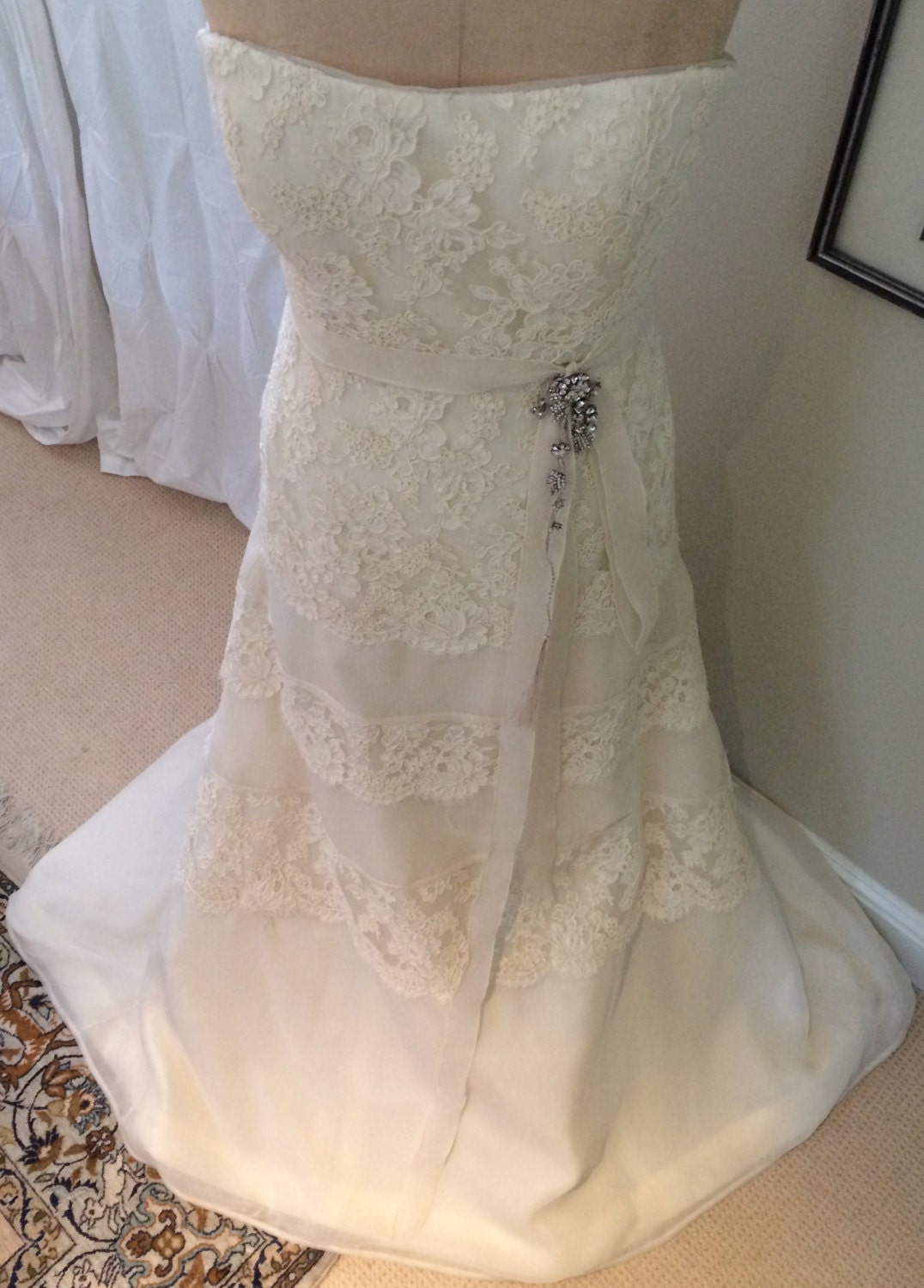 Vintage Wedding Dress in Ivory French Lace & Chiffon Stapless