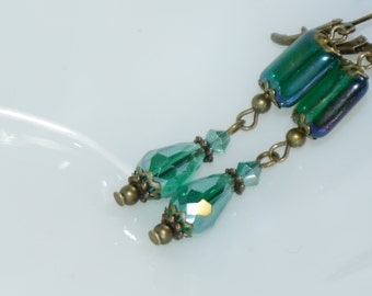 Crystal Earring - Emerald Aurora Borealis Crystal- Crystal Dangle Earring