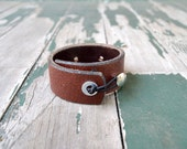 Leather Cuff Bracelet - Brown Leather - Ladies Handmade Jewelry Accessory