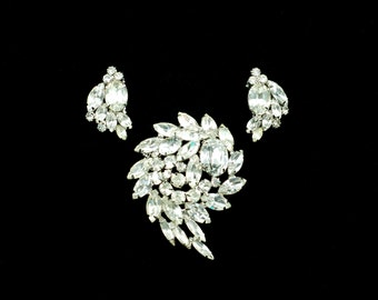 Vintage Alice Caviness Demi Parure: Clear Rhinestone Brooch and Earrings