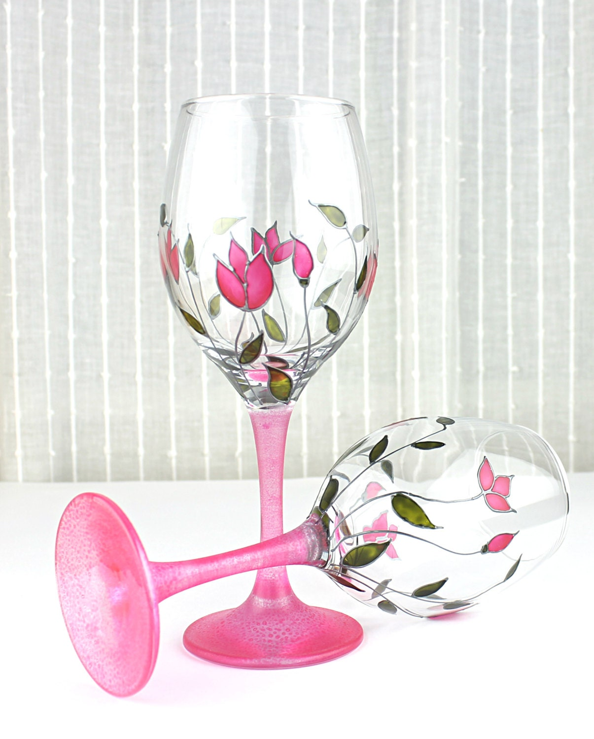 Wine Glasses With Pink Tulips Design Wedding Glasses Floral