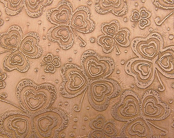 Etched Copper Sheet, Shamrock Clovers, 4x3 inches, 24g