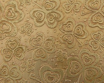 Etched Brass Sheet, Shamrock Clovers, 4x3 inches, 24g