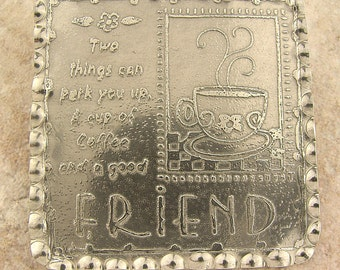"Handmade Mini Wall Art or Brooch/Pin, Large Etched Pewter Friends, 2.5"" x 2.5"""