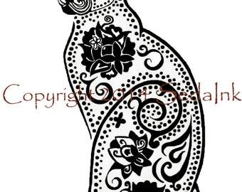 Black Cat Art Print- Sugar Skull Cat, Black Cat Art, Black Cat Drawing, Animal Portrait, Day of the Dead Art, Gothic Wall Decor, Cat Art
