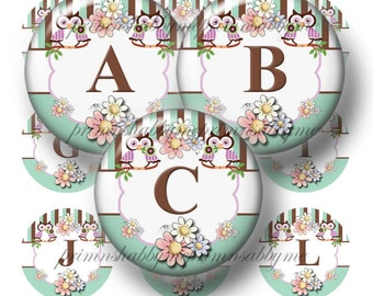"""OWLS, Alphabet, Letters, Bottle Cap Images, Digital Collage Sheet, 1"""" Round, Initials, Pendant Making, Bows, Magnets, Key Rings, (No.2)"""