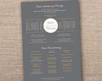 Wedding Program. Wedding Party. Wedding Ceremony. One Page Program - Printable File
