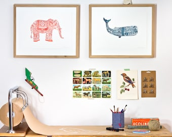 ON SALE!! ---> Elephant - Red-isch - Letterpress print