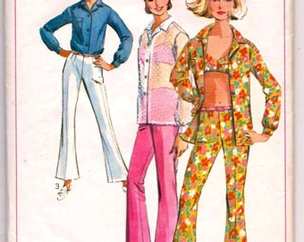Simplicity 6501, Vintage, Sewing Pattern, Bell Bottom Pants, Shirt, Bra-top, 1960s