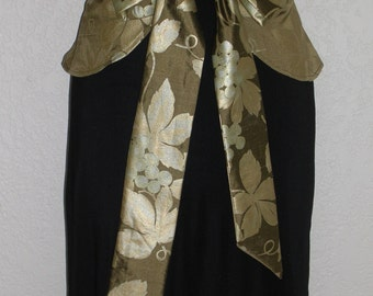 Sensational Sash / Obi with Peplum  2 Sizes Small / Medium or Medium / Large Olive Silk With Hand Painted Metallic Gold and Silver Details