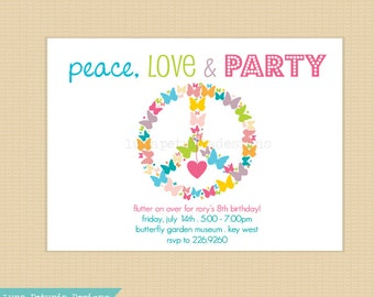 Peace Love PARTY . Invitation
